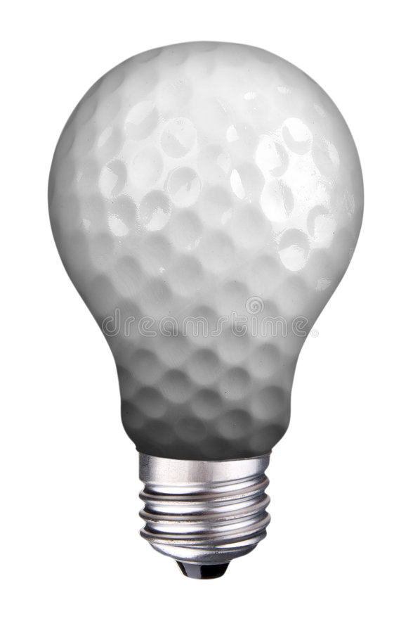 Lightbulb golf ball. Incondescent lightbulb with golf ball inside isolated over white with a clipping path stock photo