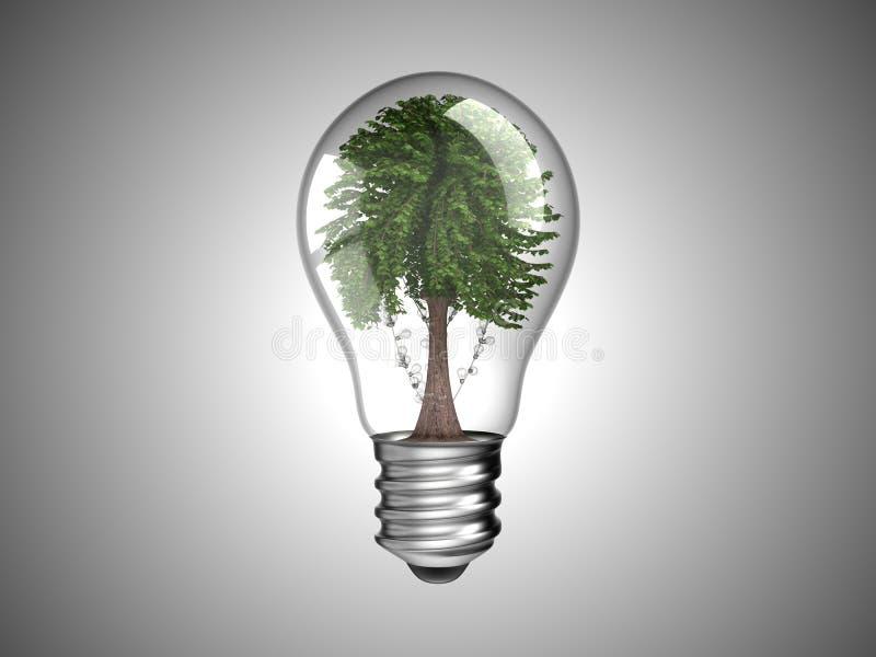 Lightbulb with green tree inside it royalty free illustration