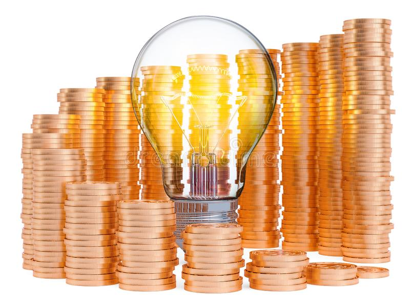 Lightbulb with growing chart from gold coins around. Saving energy consumption concept. 3D rendering. Isolated on white background stock illustration