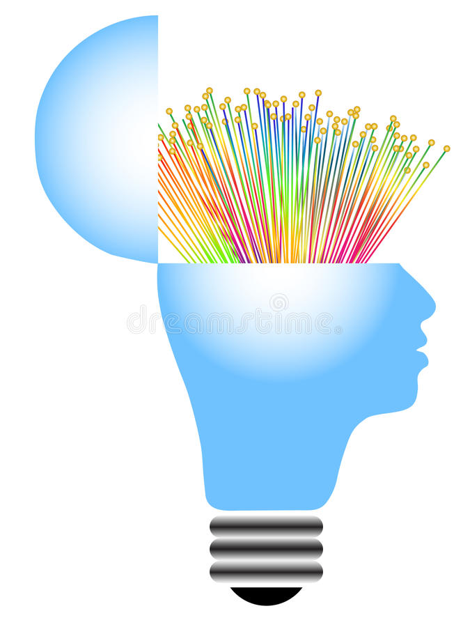 Download Lightbulb with human head stock vector. Image of lamp - 19319779
