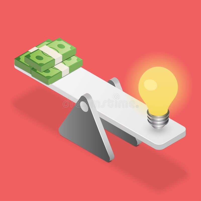 Lightbulb i dolary na równowadze ilustracja wektor