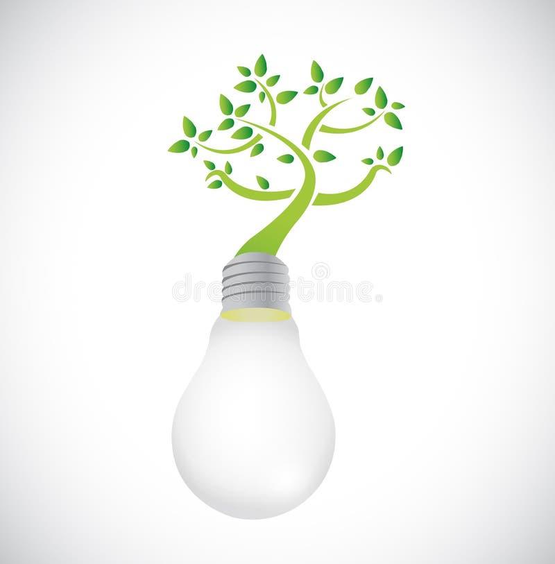 Lightbulb i zieleni narastający drzewo. ilustracja royalty ilustracja