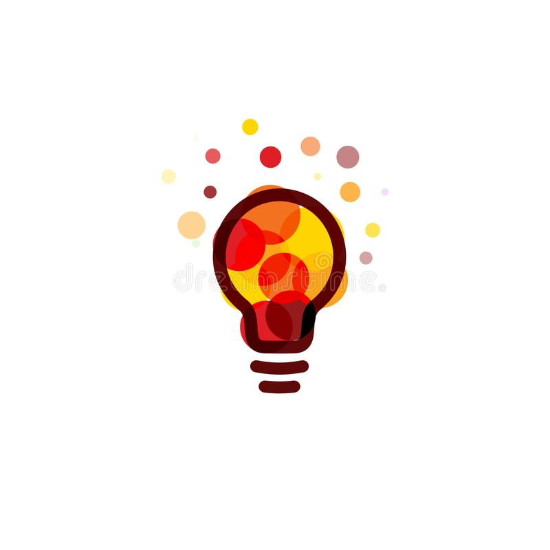Lightbulb icon. Creative idea logo design concept. Bright colorful circles, bubbles vector art. Solution for inspiration. Sign royalty free illustration