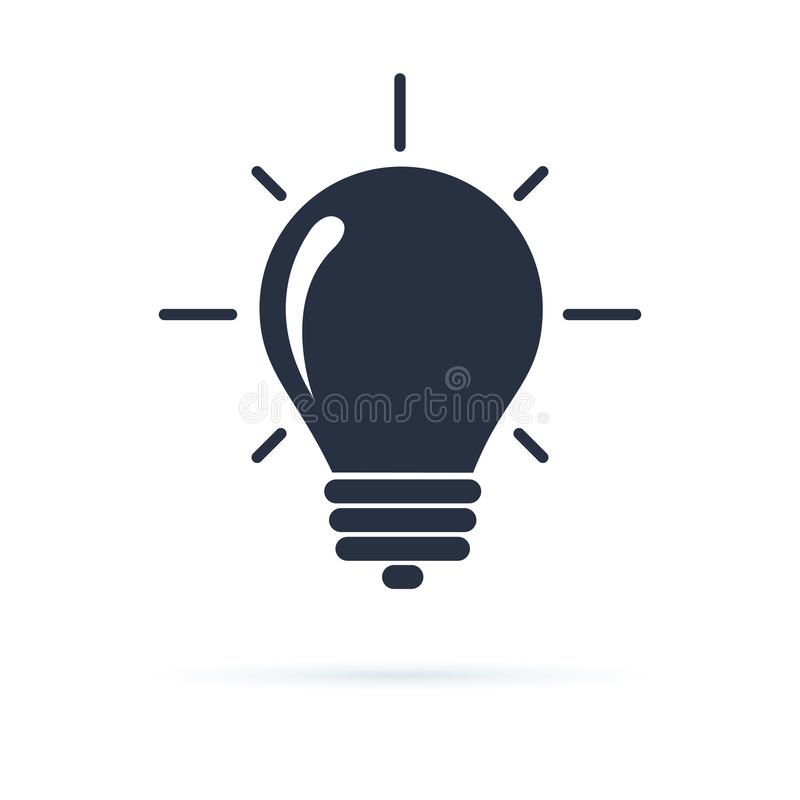 Lightbulb icon. Light bulb icon in a flat design in black color isolated on white background. Creative idea concept. royalty free illustration