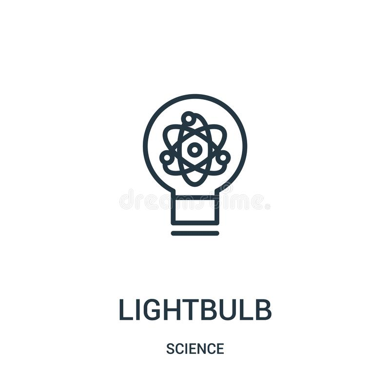 lightbulb icon vector from science collection. Thin line lightbulb outline icon vector illustration. Linear symbol royalty free illustration