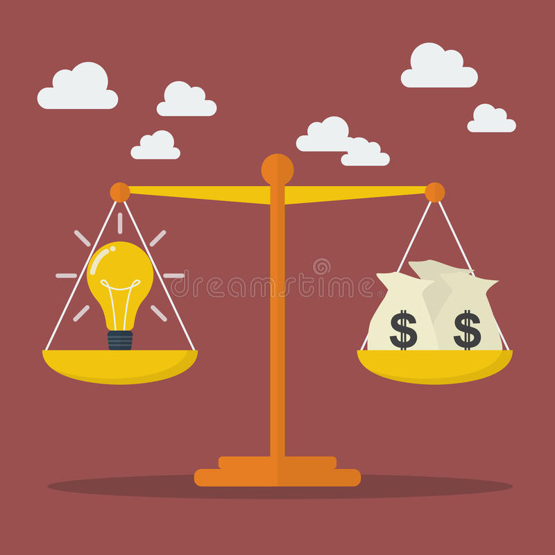 Lightbulb ideas and money balance on the scale. Business Concept royalty free illustration