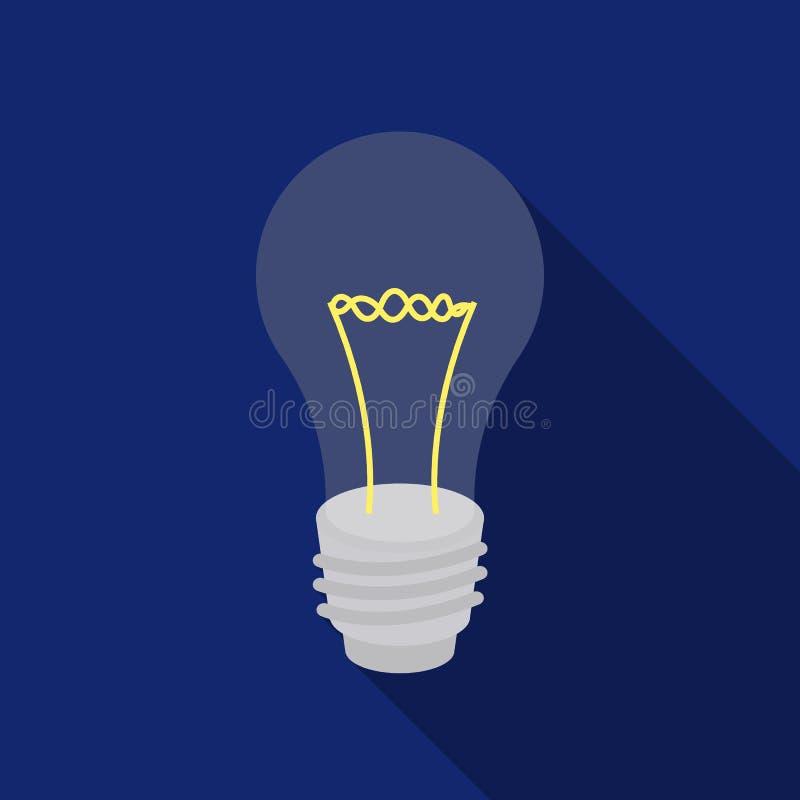 Lightbulb ikona w mieszkanie stylu odizolowywającym na białym tle Źródło światła symbolu zapasu wektoru ilustracja ilustracji