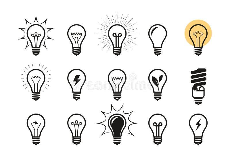 Lightbulb ikony set Żarówka, elektryczność, energetyczny symbol lub etykietka, również zwrócić corel ilustracji wektora ilustracji