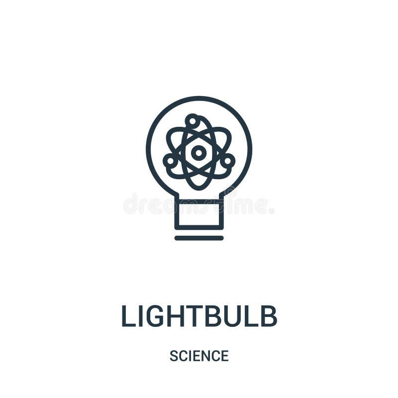 lightbulb ikony wektor od nauki kolekcji Cienka kreskowa lightbulb konturu ikony wektoru ilustracja Liniowy symbol royalty ilustracja