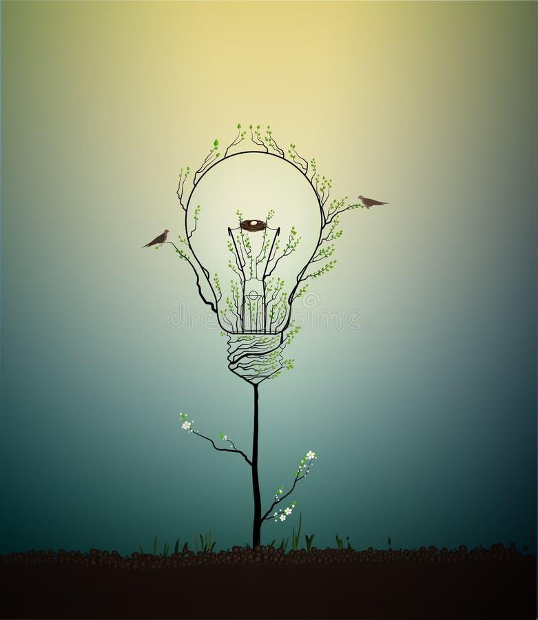 Lightbulb leidde tot van de bladeren en kijkt als de lenteboom het groeien op grond met vogels en nest, groen energieconcept, vector illustratie