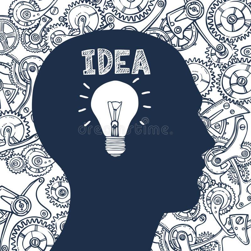 Lightbulb man idea vector illustration