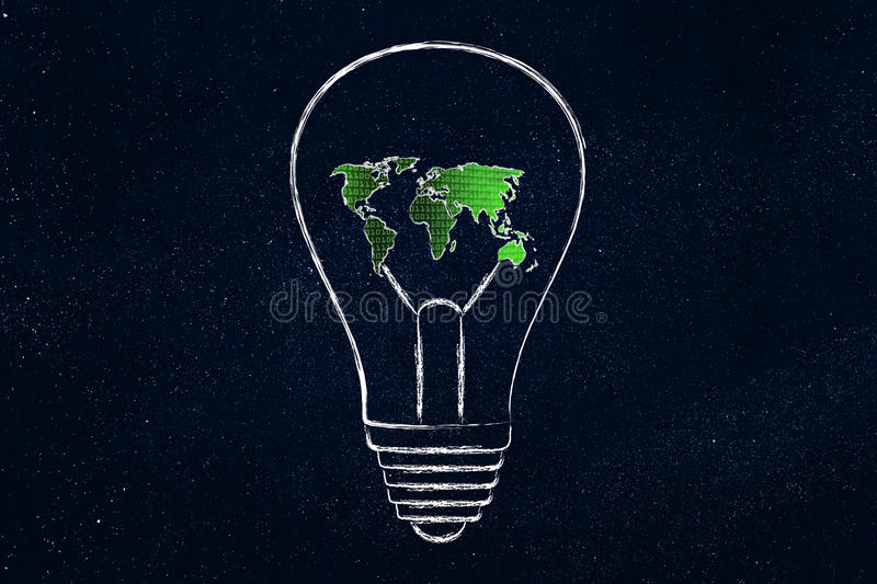 Lightbulb with map of the world made of binary code. Concept of solutions and ideas for an hyper-connected world: lightbulb with map of the world and binary code royalty free stock photo