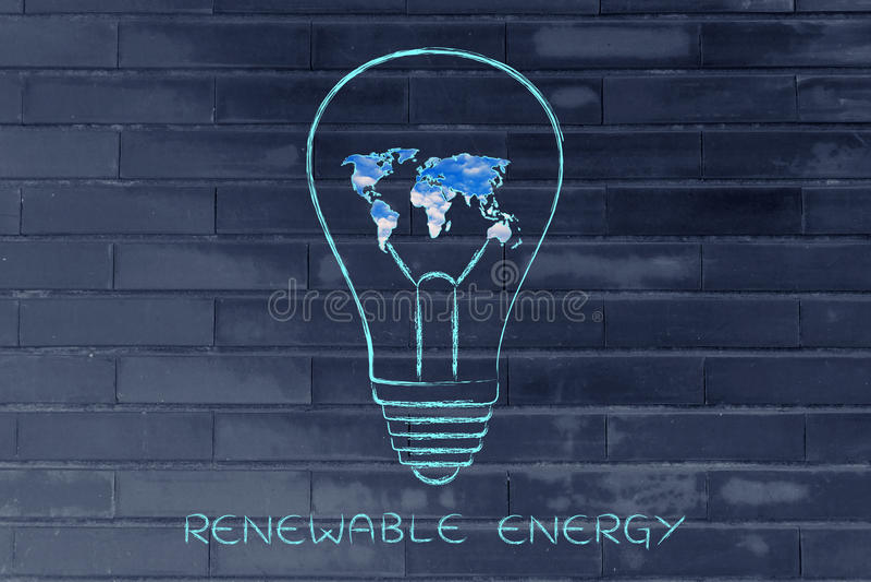 Lightbulb with map of the world made serene sky, green economy i royalty free stock photo