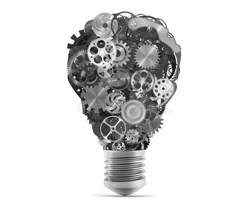 Lightbulb mechanisms of gears. 3d rendering royalty free illustration