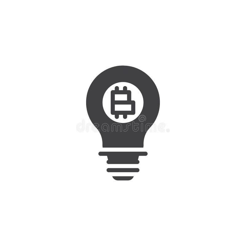 Lightbulb med bitcoinvektorsymbolen vektor illustrationer
