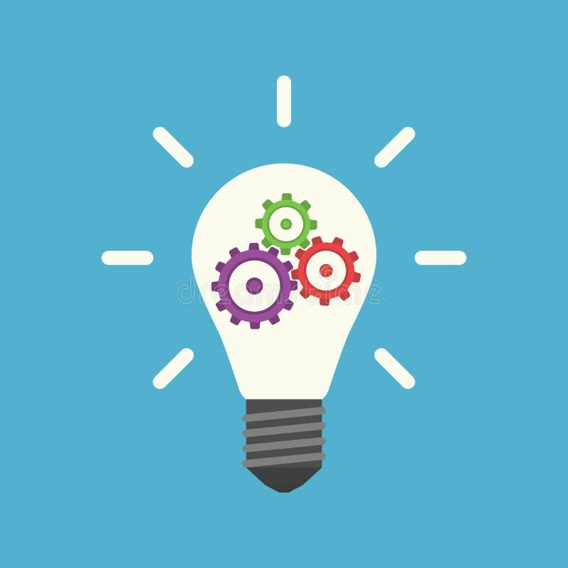 Lightbulb med kugghjul inom vektor illustrationer