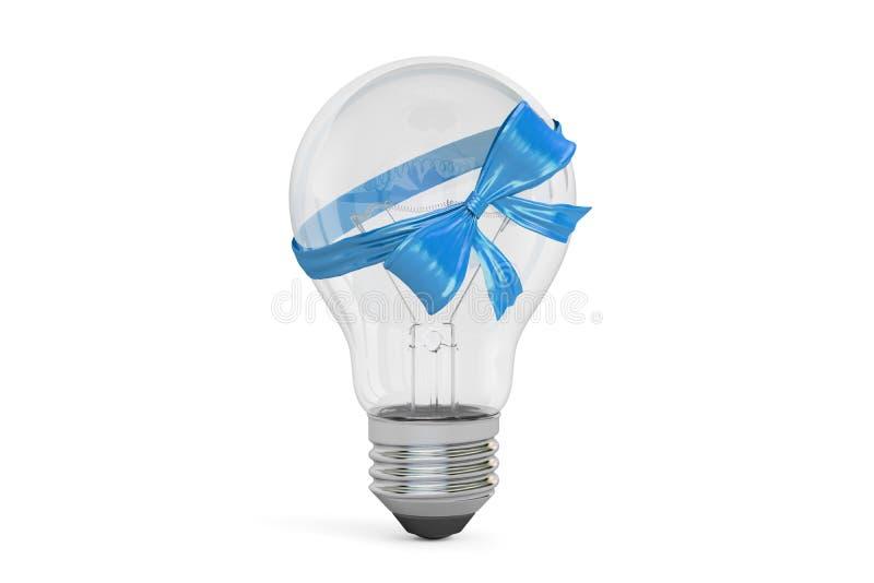 Lightbulb met blauw boog en lint, giftconcept het 3d teruggeven royalty-vrije illustratie