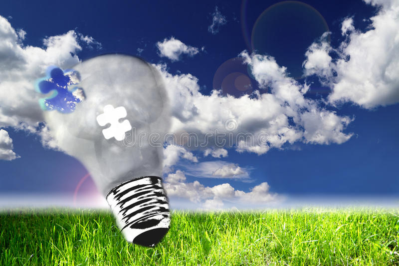 Download Lightbulb On Nature View, The Concept Of Ecology Stock Illustration - Illustration of environment, idea: 28667758