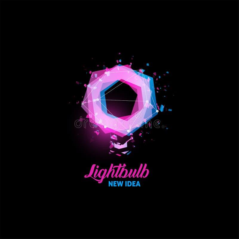 Lightbulb, nieuw ideeembleem, gloeilampen abstract vectorpictogram De geïsoleerde purpere en blauwe vorm van kleurenveelhoeken, g stock illustratie