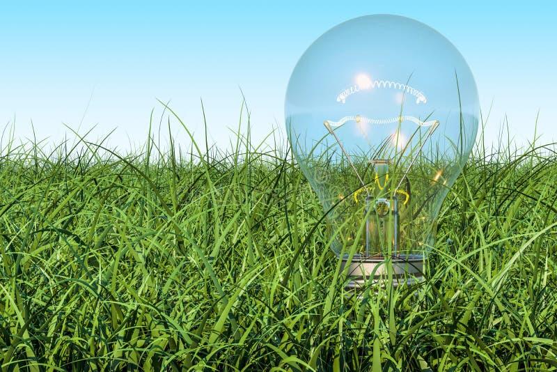 Lightbulb op het groene gras tegen blauwe hemel, het 3D teruggeven royalty-vrije illustratie
