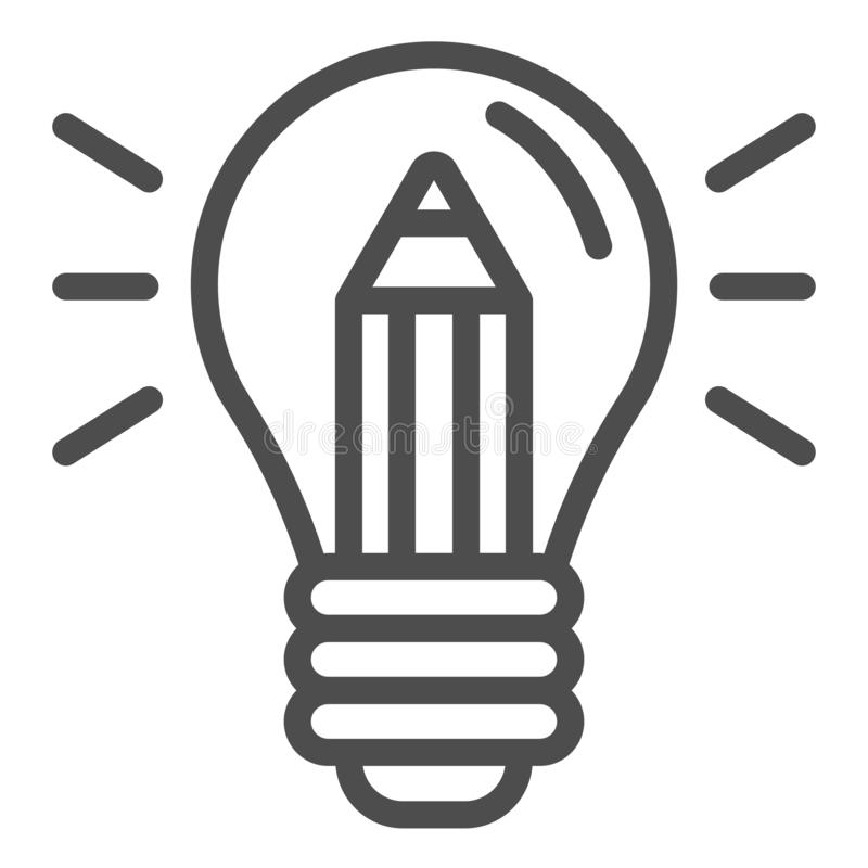 Lightbulb with pencil line icon. Creative idea vector illustration isolated on white. Creativity outline style design stock illustration