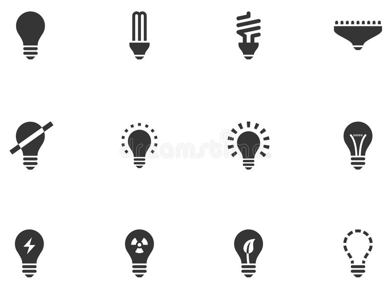 12 Lightbulb-Pictogrammen royalty-vrije illustratie