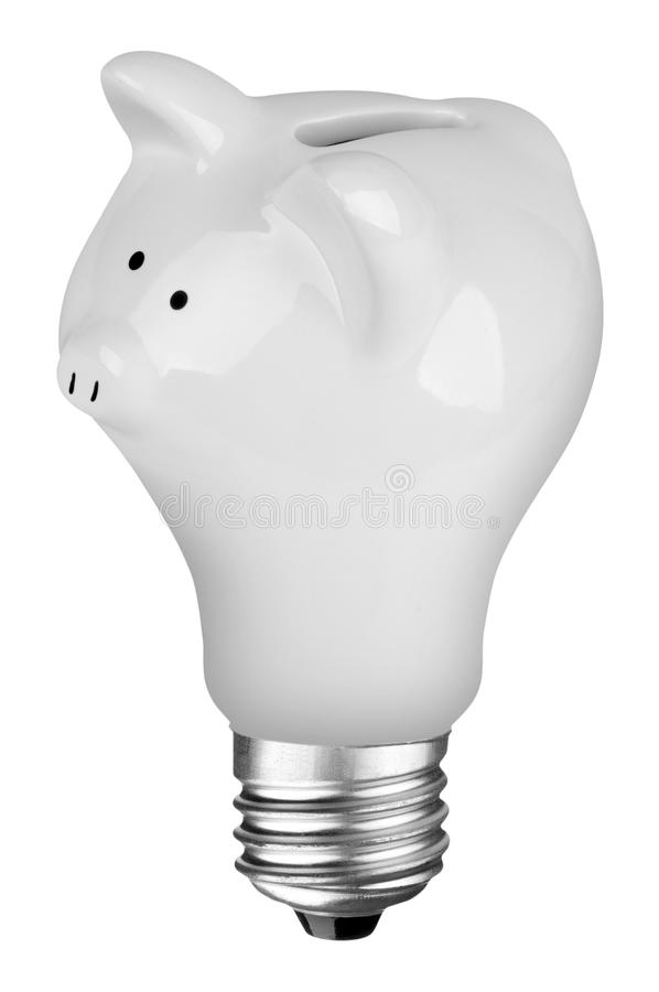 Lightbulb Piggybank. Incandescent lightbulb with Piggybank inside isolated over white with a clipping path stock photo