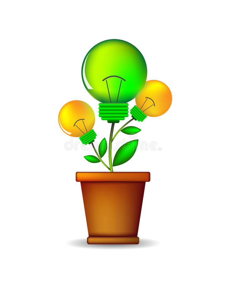 Lightbulb plant - illustration. Glowing lightbulb plant coming out of flowerpot. Business growth concept with idea light bulb - illustration stock illustration