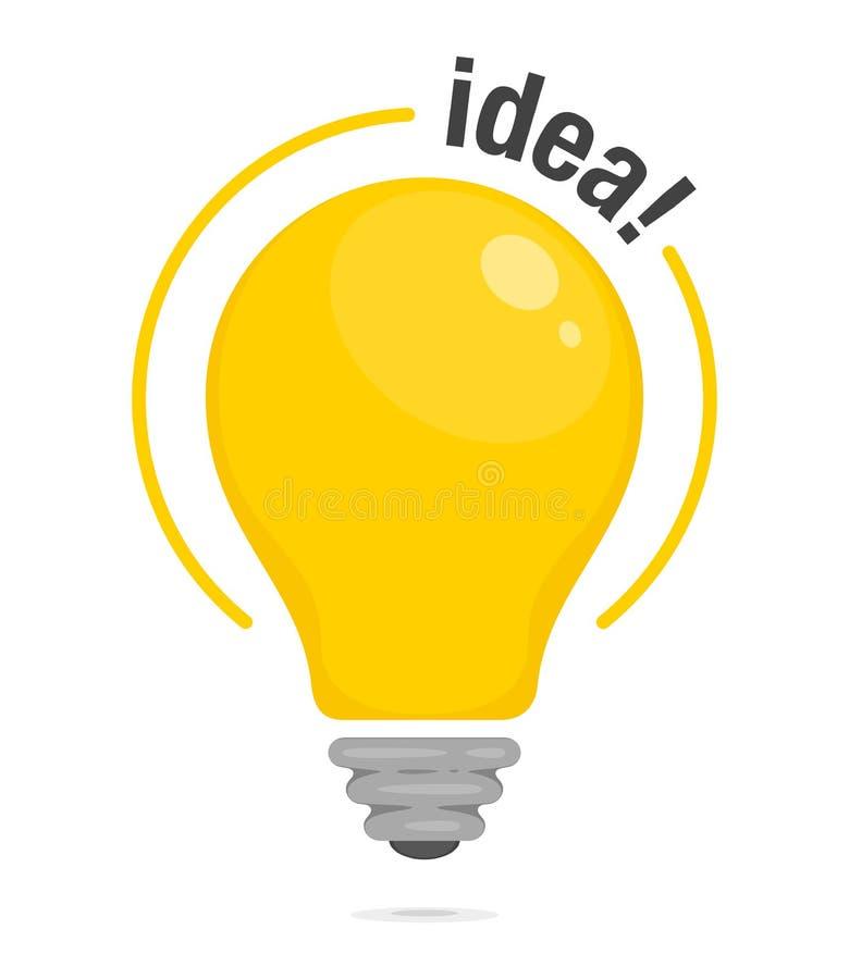 Lightbulb pomysł Żółta rozjarzona żarówka Symbol pomysł, rozwiązanie i główkowanie, Mieszkanie stylowa ikona również zwrócić core ilustracja wektor