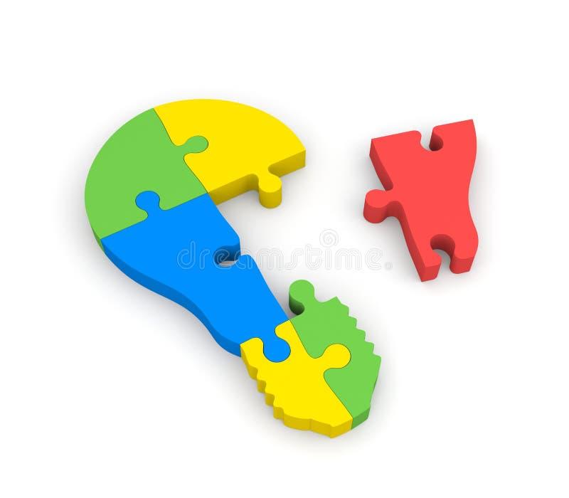 Lightbulb of the puzzle stock illustration