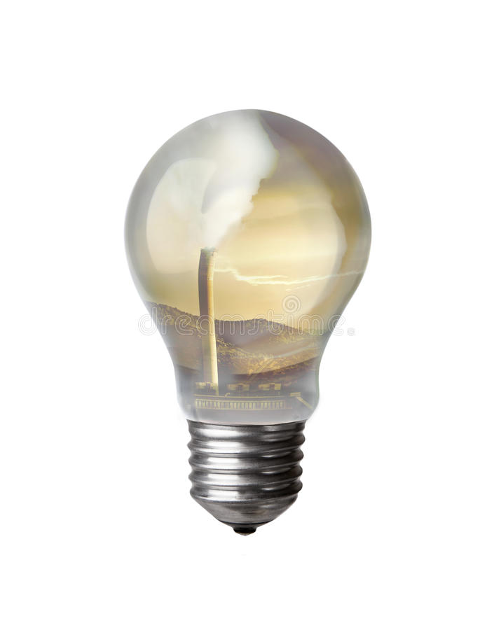 Lightbulb And Refinery Royalty Free Stock Images