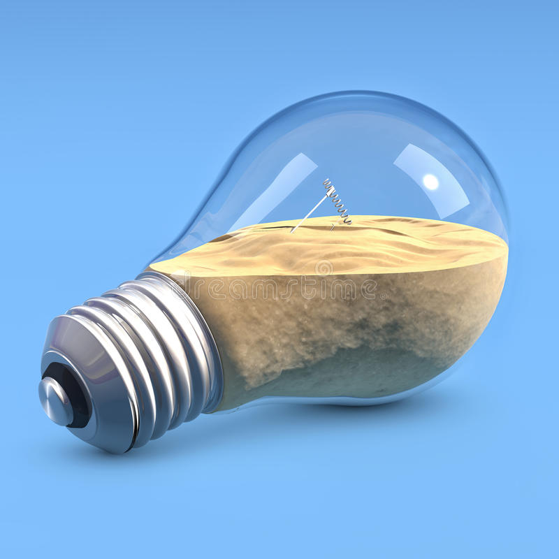 LightBulb with sand. Incandescent light bulbs filled with sand royalty free illustration