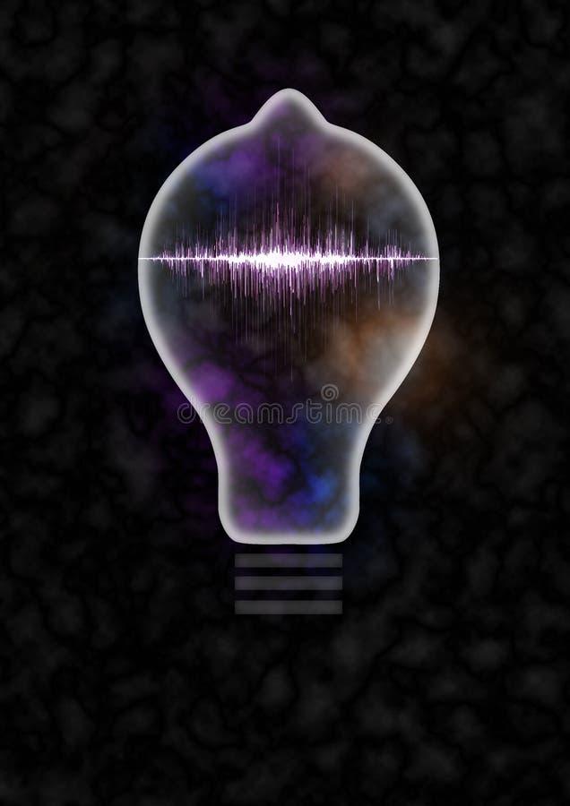 Lightbulb Sound Wave. Light bulb 3d illustration containing neon sound wave vector illustration