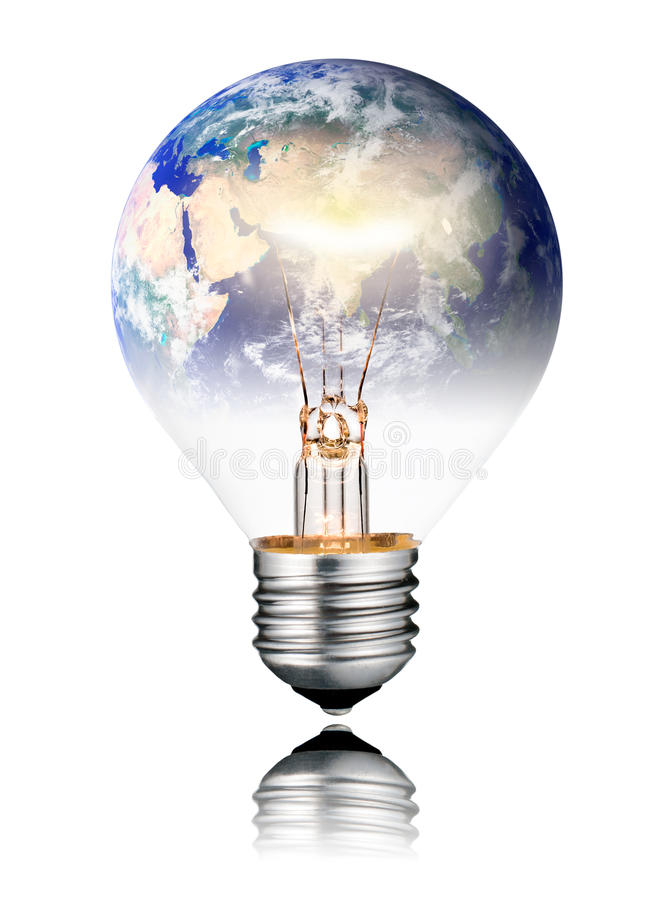 Lightbulb switched ON - World Globe Asia. Switched ON Lightbulb in the Shape of the World - Europe, Africa and Asia. Round Bulb with Reflection Isolated on White royalty free stock images