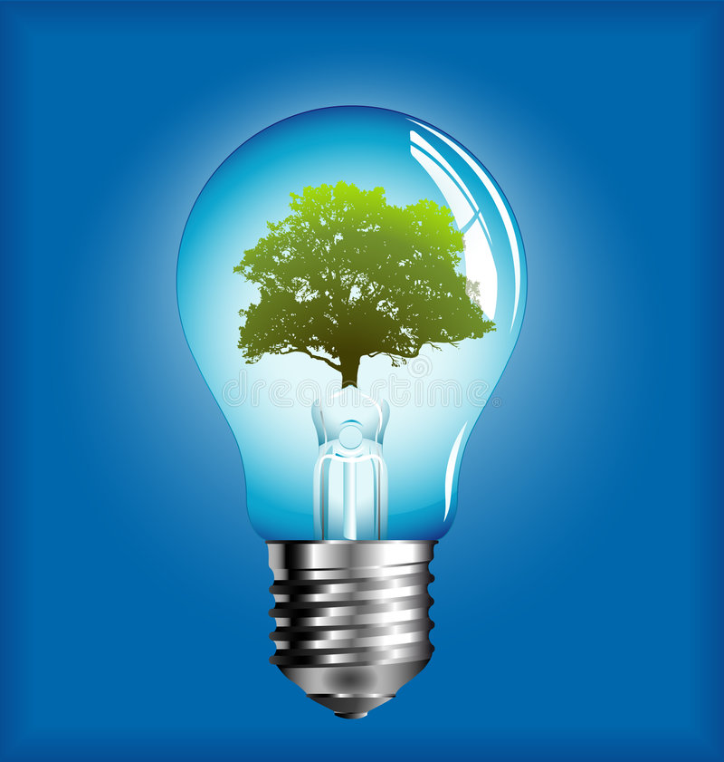 Lightbulb with tree inside stock images
