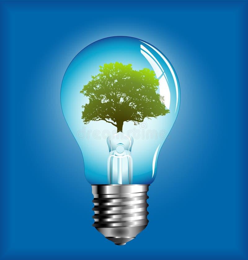 Lightbulb with tree inside vector illustration