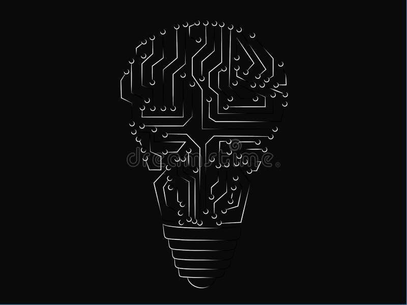 Lightbulb van elektronische kringen wordt gemaakt die stock illustratie