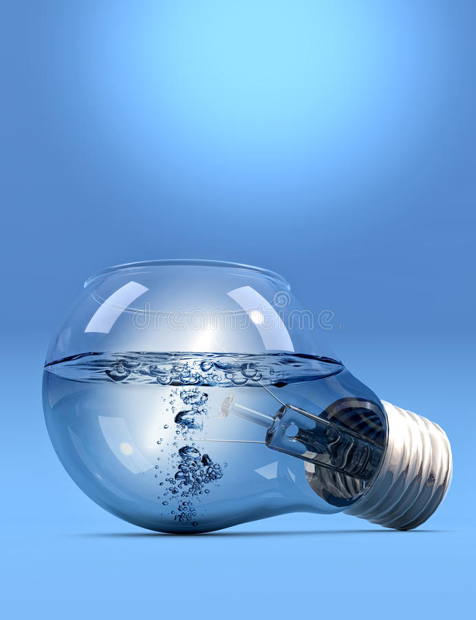 LightBulb with water. Incandescent light bulb filled with liquid on blue background stock illustration