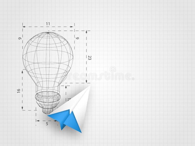 Lightbulb wireframe z origami samolotem na siatki tle reprezentuje projekta główkowanie i innowaci pojęcie royalty ilustracja