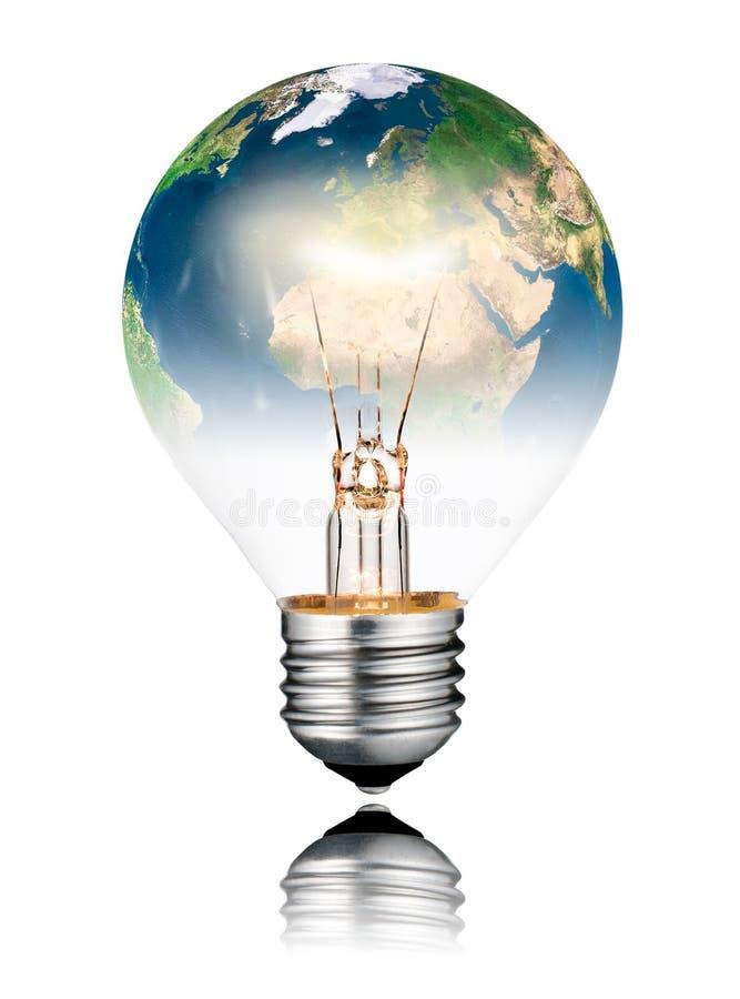 Lightbulb wyłaczająca DALEJ - Światowa kula ziemska Europa i Afryka ilustracji