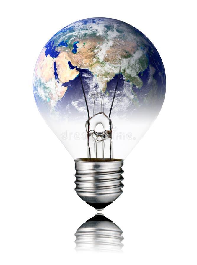 Lightbulb wyłaczająca DALEKO - Światowa kula ziemska Azja ilustracja wektor