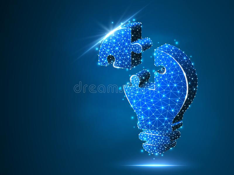 Lightbulb wyrzynarki łamigłówka Pomysł, elektryczność, innowacji pojęcie Neonowy niski poli- wireframe żarówki lampy symbol wekto royalty ilustracja