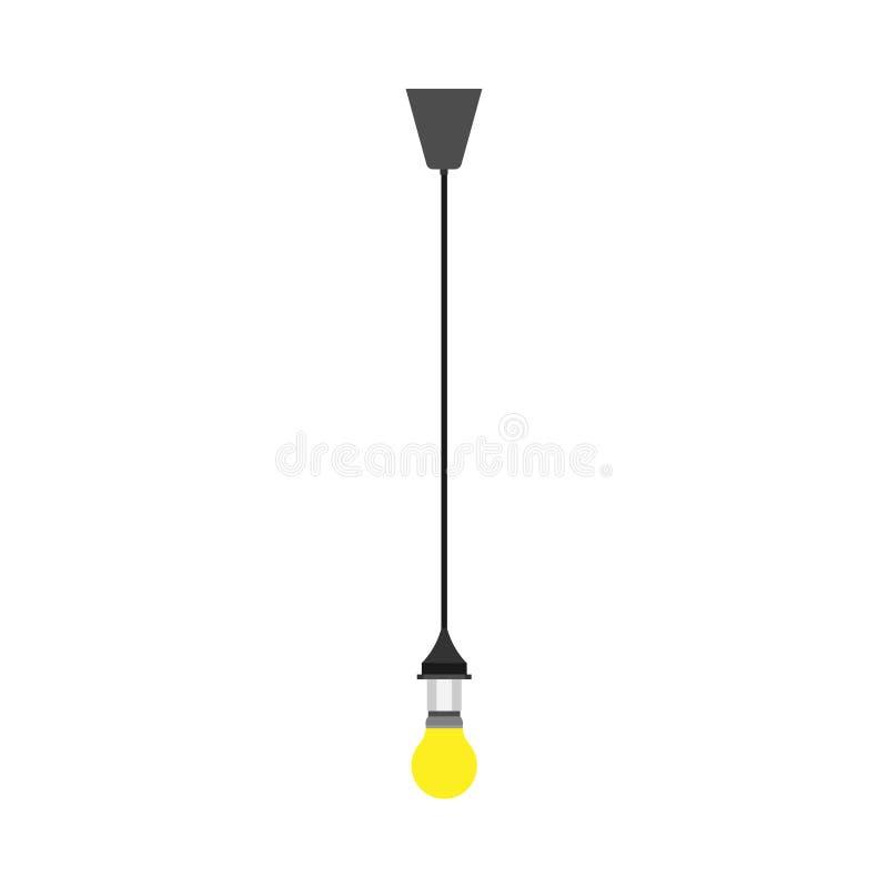 Lightbulb yellow hanging vector icon illumination. Light glass lamp idea fluorescent bright shape. Flat inspiration solution vector illustration