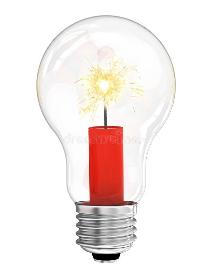 Lightbulb z dynamitem z płonącym wick inside zdjęcia stock