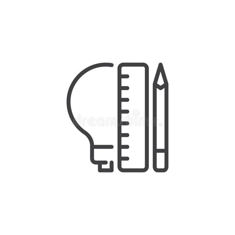 Lightbulb z ołówka i władcy konturu ikoną royalty ilustracja