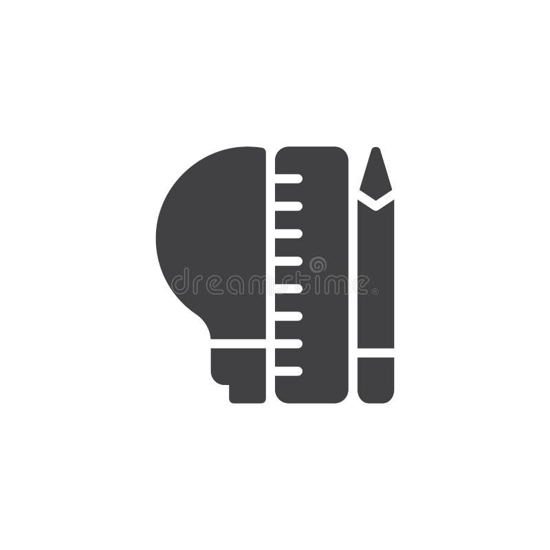 Lightbulb z ołówka i władcy wektoru ikoną royalty ilustracja