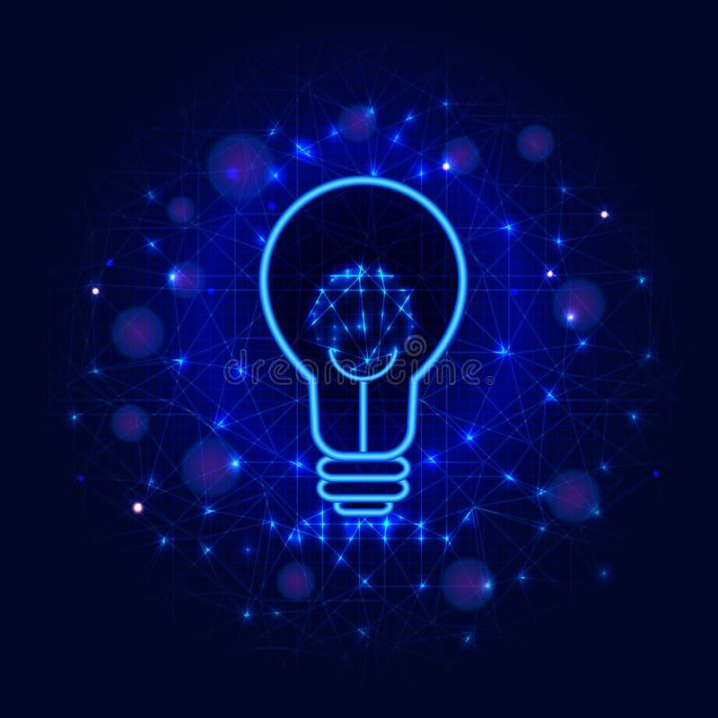 Lightbulbbegrepp från linjer, punkter och trianglar på abstrakt blå låg poly bakgrund Lampa eller design för ljus kula för idérik stock illustrationer