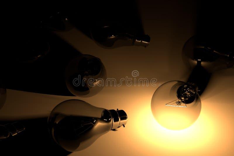 Lightbulbexponering och andra kulor med orange ljus vid 3D r stock illustrationer