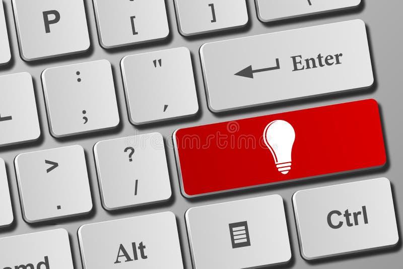 Lightbulbknoop op toetsenbord vector illustratie