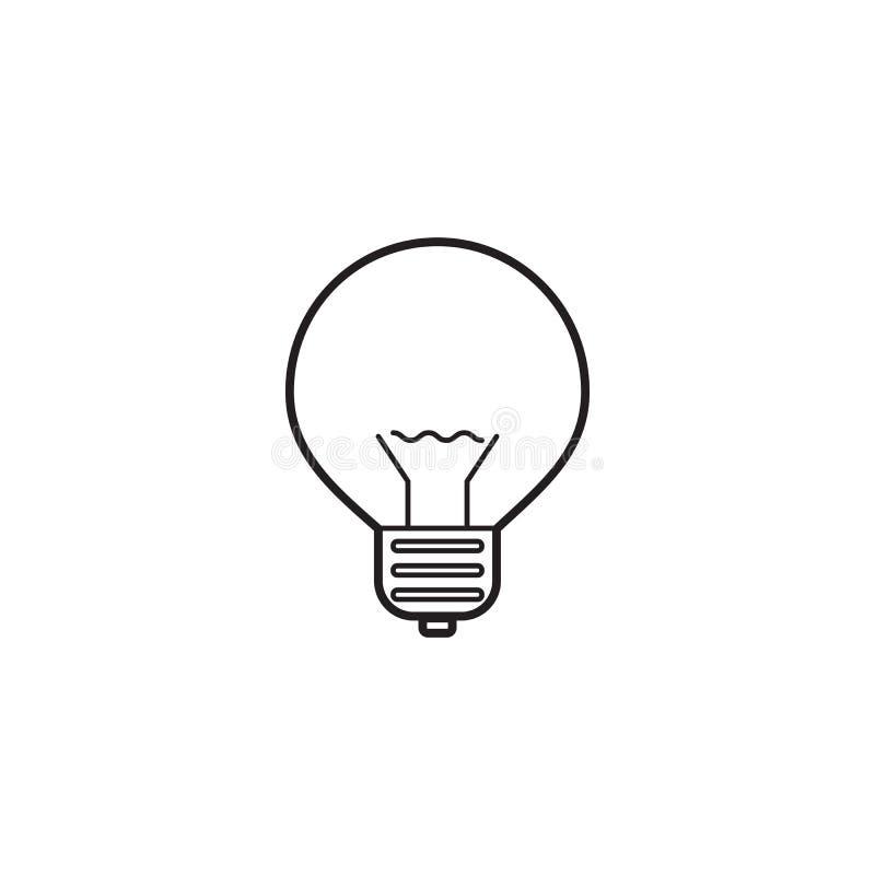 Lightbulblinje symbol, logo för lampöversiktsvektor royaltyfri illustrationer